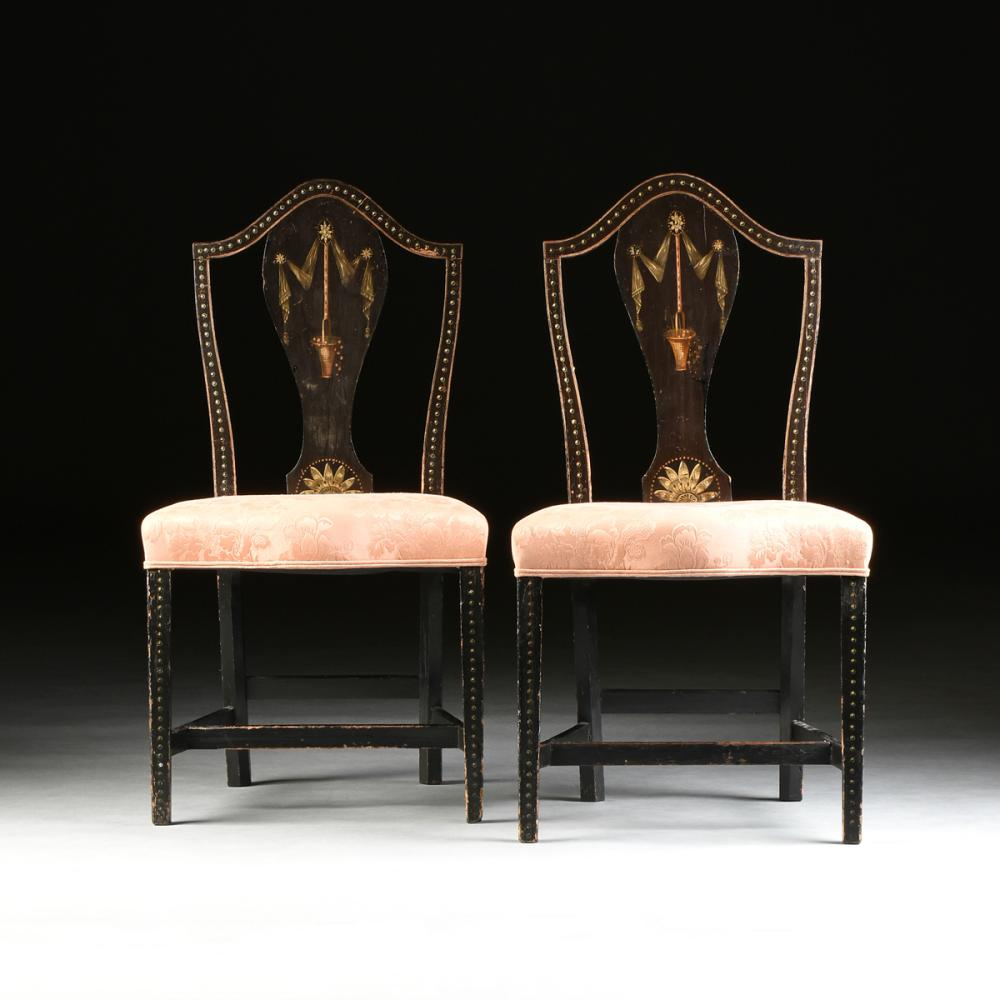 A PAIR OF BLACK LACQUERED STENCIL PAINTED UPHOLSTERED SIDE CHAIRS, AMERICAN,  CIRCA 1900- - American Antique Chairs For Sale At Online Auction Buy Rare