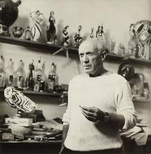 """after EDWARD QUINN (Irish 1920-1997) A PHOTOGRAPH OF PABLO PICASSO, """"The Artist in Le Fournas Studio, Vaillauris, 1953,"""""""