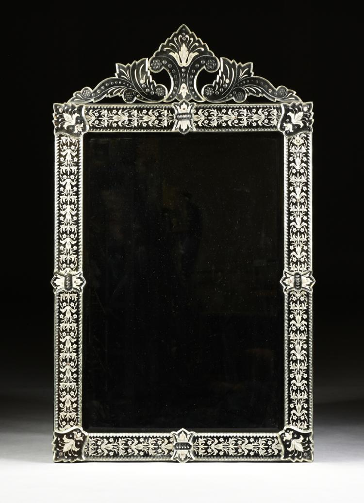 A baroque venetian style etched cut glass mirror late 19th for Venetian style home