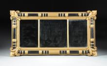 AN AMERICAN CLASSICAL GOLD PAINTED AND EBONIZED CARVED WOOD LOOKING GLASS MIRROR, POSSIBLY BY ISAAC PLATT (1793-1875), NEW YORK, CIRCA 1830,