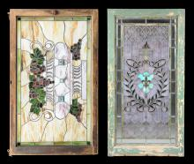 TWO ANTIQUE STAINED AND SLAG GLASS LEADED WINDOWS, PROBABLY AMERICAN, LATE 19TH/EARLY 20TH CENTURY,