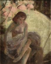 "JAMES CHAPIN (American 1887-1975) A PAINTING, ""Ballerina Putting on Ballet Slipper,"" CIRCA 1947,"