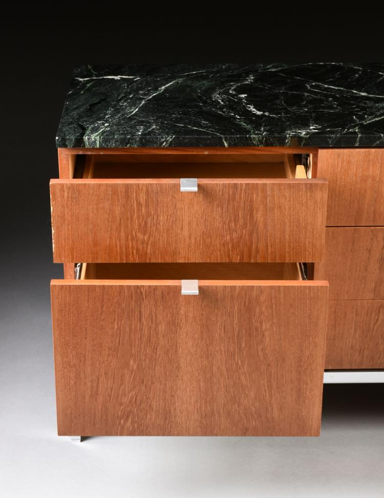 FLORENCE KNOLL (American b. 1917) A MARBLE TOPPED WALNUT AND