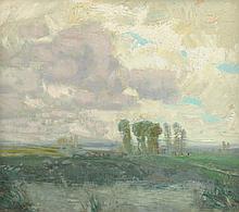 "ALOIS KALVODA (Czech 1875- 1934) A PAINTING, ""Poplar Trees with Clouds,"""