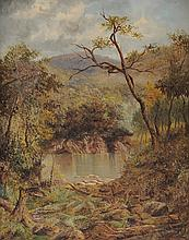"THOMAS REGINALD ATTWOOD (New Zealand 1865-1926) A PAINTING, ""On The Manganui-a-Tea. Tributary of the Wanganui River,"""