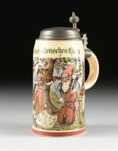 A VILLEROY & BOCH TRANSFER PRINTED STONEWARE AND PEWTER STEIN, METTLACH, GERMANY, 1909,
