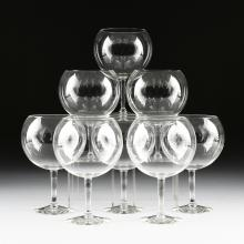 A SET OF EIGHT LARGE CLEAR CRYSTAL FISH BOWL STEM GOBLETS, POSSIBLY LIBBEY, MODERN,