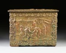 A FRENCH BAROQUE STYLE WOODEN COAL BOX WITH EMBOSSED BRASS OVERLAY, LATE 19TH CENTURY,