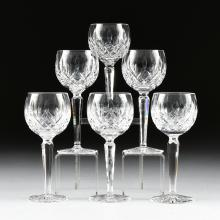 A SET OF SIX WATERFORD CUT CRYSTAL BALLOON WINE GLASSES IN THE