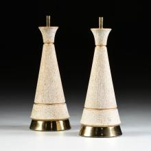 A PAIR OF VINTAGE MID CENTURY MODERN GILT AND WHITE SPECKLED CERAMIC LAMPS, BY