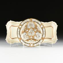 A MEISSEN PORCELAIN GILT AND WHITE PLATE AND A PAIR OF ENGLISH CREAMWARE GILT AND WHITE SQUARE DISHES, LATE 19TH CENTURY,