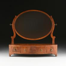 A LATE VICTORIAN/EDWARDIAN GENTLEMAN'S FLAME MAHOGANY DRESSING MIRROR, LATE 19TH EARLY 20TH CENTURY,