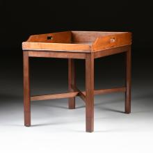 A MAHOGANY SERVING TRAY ON STAND, 19TH/20TH CENTURY,