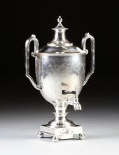 A VICTORIAN COOPER BROS. & SONS, LTD. SILVER PLATED HOT WATER URN WITH SPIRIT BURNER, SHEFFIELD, ENGLAND, CIRCA 1870,