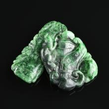 TWO CHINESE SPINACH GREEN JADE PENDANTS, MODERN,