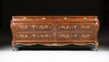 A KARGES PARTIAL GILT WALNUT VENETIAN ROCOCO STYLE BOMBÉ DOUBLE DRESSER, EVANSVILLE, INDIANA, LATE 20TH CENTURY,