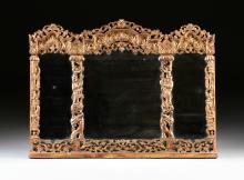 A CHINESE QING DYNASTY STYLE PARCEL GILT LACQUERED TRIPTYCH MIRROR, EARLY/MID 20TH CENTURY,