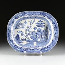 A VINTAGE RIDGWAYS BLUE AND WHITE WILLOW WARE MEAT PLATTER, MID 20TH CENTURY,