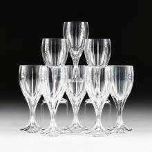 A SET OF EIGHT CRYSTAL CLEAR INDUSTRIES CUT CRYSTAL ICED TEA GLASSES IN THE