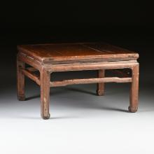 A CHINESE CARVED ELM LOW TABLE, 20TH CENTURY,