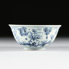 A SOUTH EAST ASIAN BLUE AND WHITE PORCELAIN BOWL, LATE 19TH CENTURY,