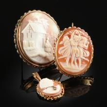 A GROUP OF THREE CONTINENTAL CAMEO BROOCHES, POSSIBLY ITALIAN,
