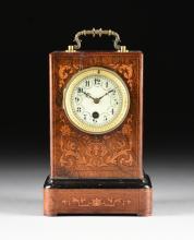 A VICTORIAN SATINWOOD INLAID ROSEWOOD MANTLE CLOCK, CIRCA 1870-1880,