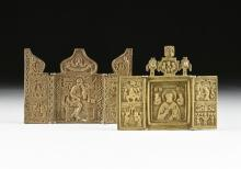 TWO RUSSIAN ORTHODOX CAST BRONZE TRAVELING TRIPTYCH ICONS, LATE 19TH CENTURY,