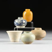 A GROUP OF THREE SOUTHEAST ASIAN GLAZED CERAMIC VASES, A SOUTHEAST ASIAN GLAZED BOWL, AND A CHINESE PEKING GLASS PERFUME BOTTLE, LATE 19TH CENTURY,