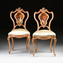 A PAIR OF ITALIAN CARVED AND PAINTED FRUITWOOD LOUIS XV STYLE SIDE CHAIRS, LATE 19TH CENTURY,