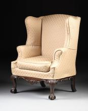A GEORGE III MAHOGANY UPHOLSTERED WING BACK ARMCHAIR, LATE 18TH/EARLY 19TH CENTURY,