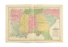 S. AUGUSTAS MITCHELLS. AN ENGRAVED MAP OF THE SOUTHERN STATES, HAND COLORED,1839,