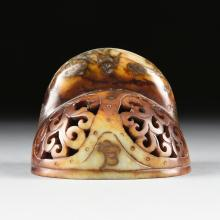 A SOUTHEAST ASIAN CARVED HARD STONE INCENSE BURNER FRAGMENT, EARLY 20TH CENTURY,
