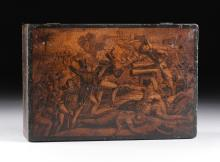AN AMERICAN PAINTED BASE WOOD TABLE TOP SEWING BOX FEATURING A SCENE FROM THE BATTLE OF DERNA, EARLY/MID 19TH CENTURY,