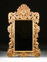 A LARGE BAROQUE STYLE GILTWOOD MIRROR, MODERN,