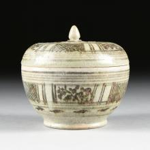 A SOUTHEASTERN ASIAN MAGNESE DECORATED CELADON LIDDED BOWL, LATE NINETEENTH CENTURY,