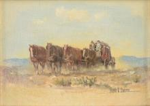 """MELVIN CHARLES WARREN (American/Texas 1920-1995) A PAINTING, """"Stagecoach,"""""""