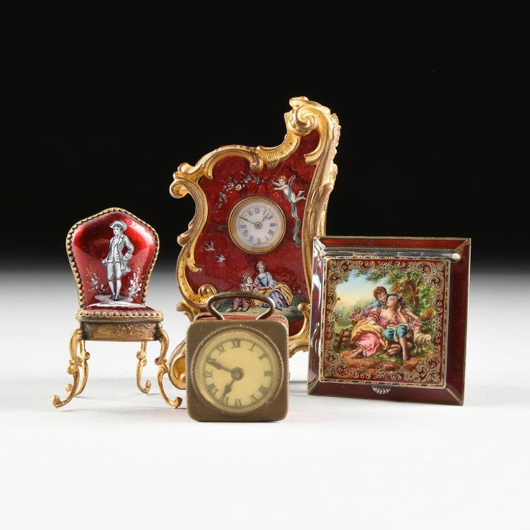 A GROUP OF FOUR AUSTRIAN/GERMAN MINIATURE GILT METAL AND PLUM GROUND ENAMEL WARES, EARLY 20TH CENTURY,