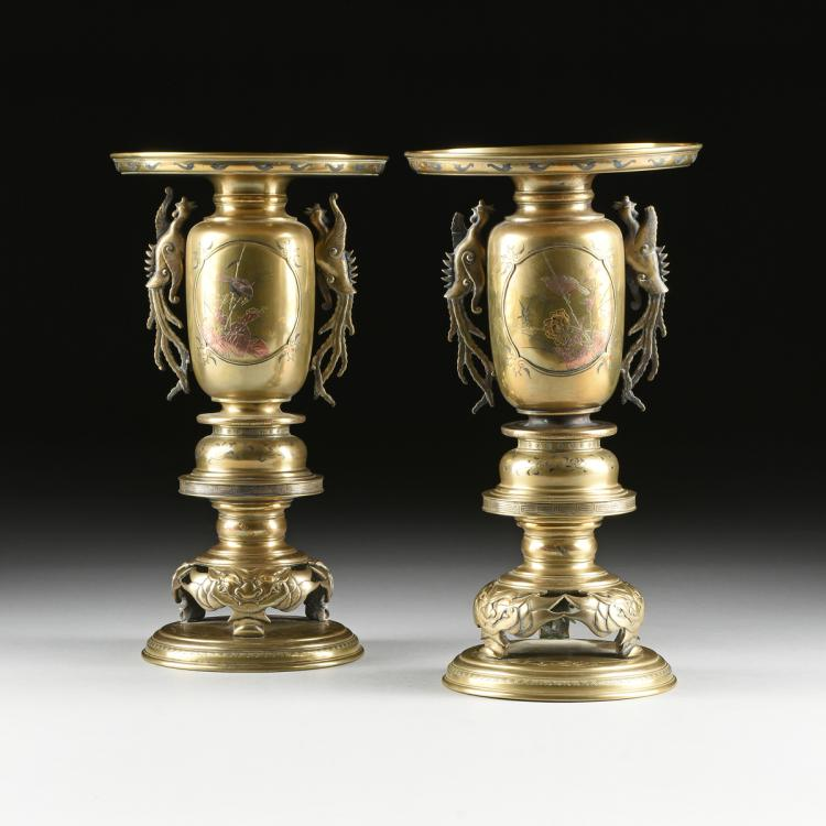 A PAIR OF JAPANESE BRONZE AND MIXED METAL FOUR PIECE USABATAS, MEIJI PERIOD, LATE 19TH CENTURY,