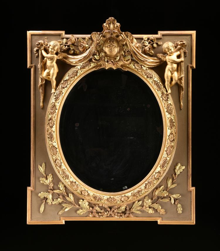 after WILLIAM KENT (English 1685-1748) A GEORGE II STYLE GILTWOOD AND COMPOSITION MIRROR, LATE 19TH CENTURY,
