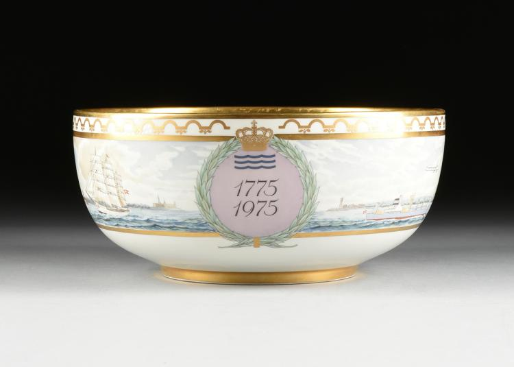 A ROYAL COPENHAGEN LIMITED EDITION GILT AND ENAMEL DECORATED COMMEMORATIVE PUNCH BOWL IN CELEBRATION OF THE POTTERIES BICENTENNIAL, GLOSTRUP, DENMARK, 1975,