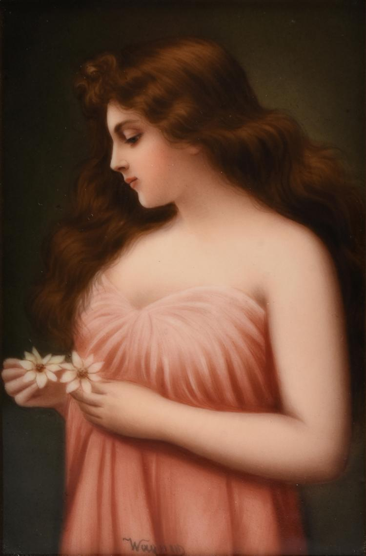 A FRANED HUTSCHENREUTHER HAND PAINTED PORCELAIN PLAQUE SIGNED