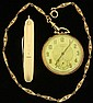 WALTHAM 14KT OPEN FACE POCKETWATCH to be sold with chain andpocket knifeestimate 300-500