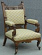 VICTORIAN WALNUT CARVED ARMCHAIR with lion and northwindcarvingsheight- 43