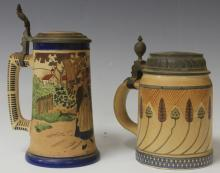 LOT OF (2) VINTAGE GERMAN STEINS, ONE METTLACH