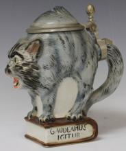 EARLY GERMAN PORCELAIN STEIN, FORM OF CAT