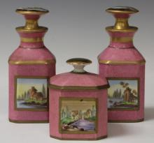 LOT OF (3) SEVRES PORCELAIN PERFUME BOTTLES
