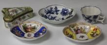 LOT OF (5) PCS. MEISSEN PORCELAIN, PLATES, BOX