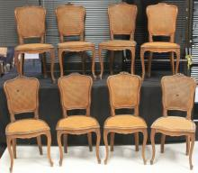 SET OF (8) FRENCH WALNUT CARVED DINING CHAIRS