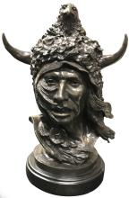 JAMES GRUZALSKI (b. 1938), INDIAN CHIEF BRONZE